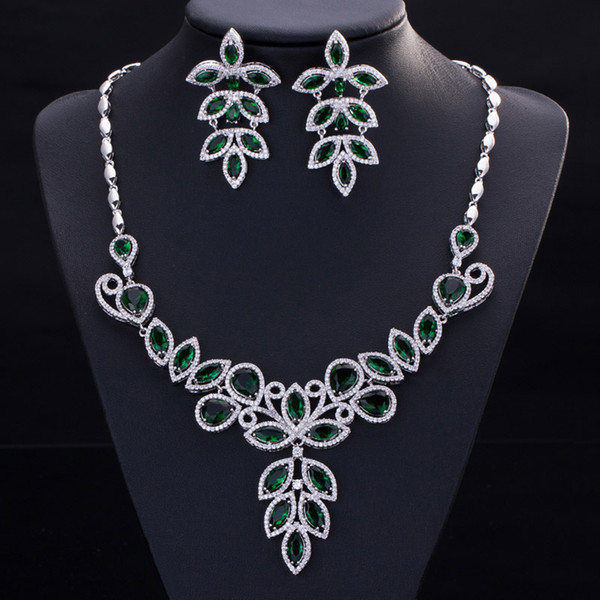 Free Shipping luxury 5A cz diamond Jewelry Sets earring Necklaces sets For Women Dinner dress Party
