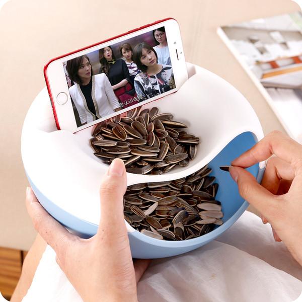 Creativo Snack in plastica con piastra a doppio strato per frutta a guscio Snack Bowl Phone Holder Storage