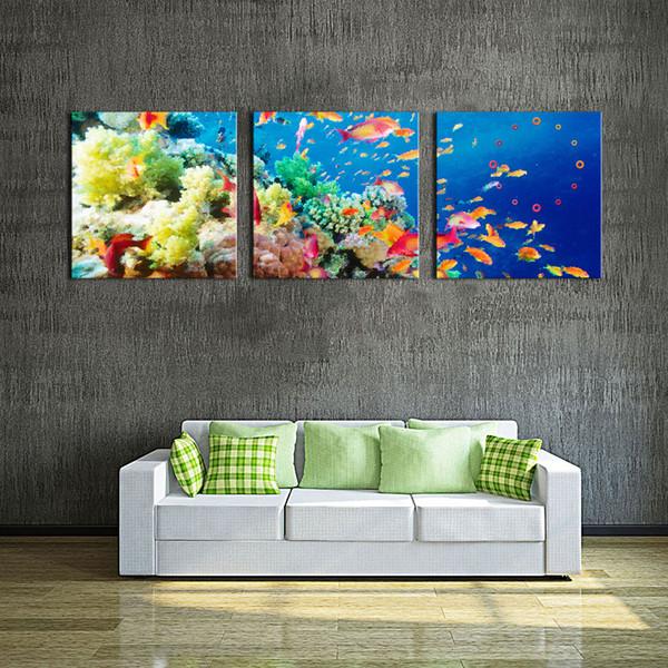 Satin Al Tuval Sanat Mavi Duvar Sanati Boyama Deniz Altinda Sahne