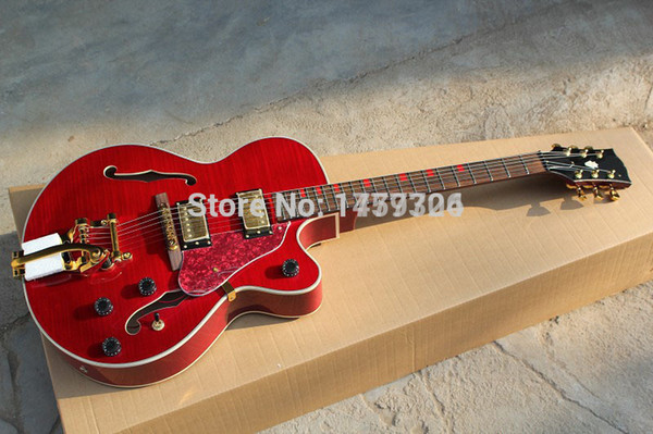 Wholesale custom jazz electric guitar, hollow body guitar with Tremolo gold hardware, red L5 guitar 10 22