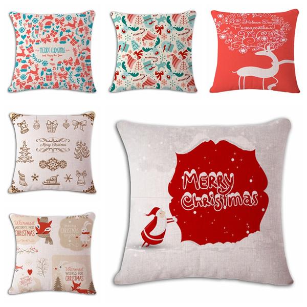 14Types Kissenbezug Leinen Baumwollweihnachtskissenbezug Kissenbezug Quadrat für Autositz Dekoratives Kissen Weihnachten
