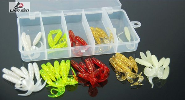 2017 Wholesale Price 30mm 45mm Simulation Road Maggots Soft Baits and Worms Shape Fake Silicone Fishing Lures for Saltwater with 200PCS