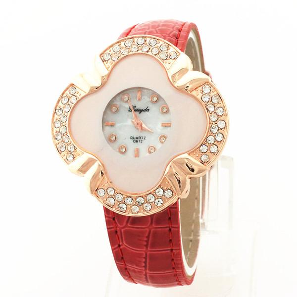 Free shipping!PVC leather band,flower shape case,rhinestone deco,quartz movement,gerryda fashion woman lady quartz leather watches,612