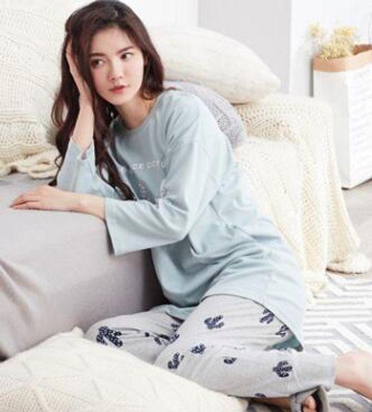 Outono e inverno novas senhoras manga comprida pijamas de algodão terno coreano gola redonda conjuntos de serviço de casa casual