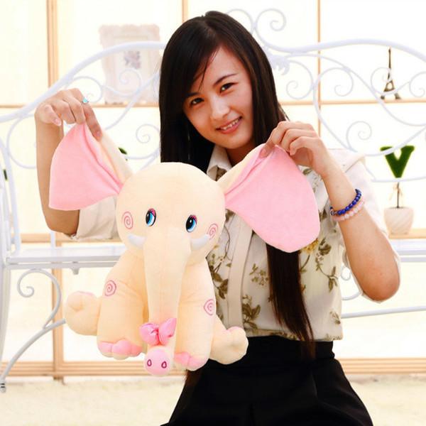 32 CM 1 piece 2015 new cartoon lovely PINK ear elephant plush stuffed toys bowtie kid doll Birthday is children's day gift WJ61H