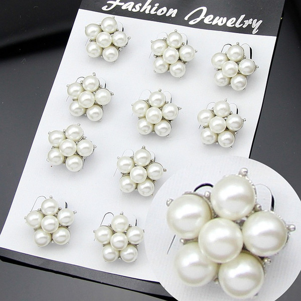 12pcs/lot Pearl Brooch Flower Bouquet Wedding Brooches Pins Badge for Women Men Christmas Fashion Jewelry Gift Drop Shipping