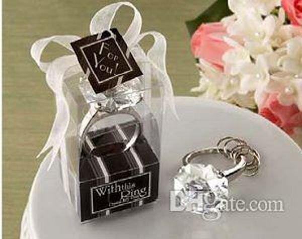 Hochzeitsbevorzugungsgeschenk mit diesem Ring-Verlobungsring-Schlüsselketten-Neuheits-riesigen Diamanten Keychain Schmucksache-Geschenk-Kasten-Partei liefert # Z48