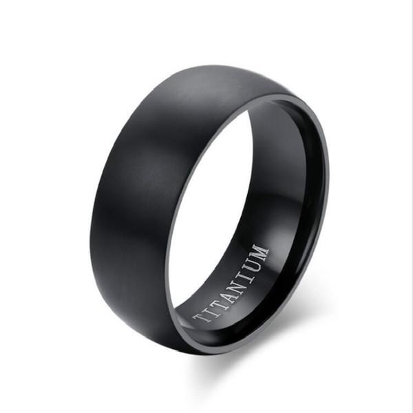 Moda masculina de titânio anel fosco acabamento clássico anel de noivado de jóias para o casamento do sexo masculino bandas frete grátis