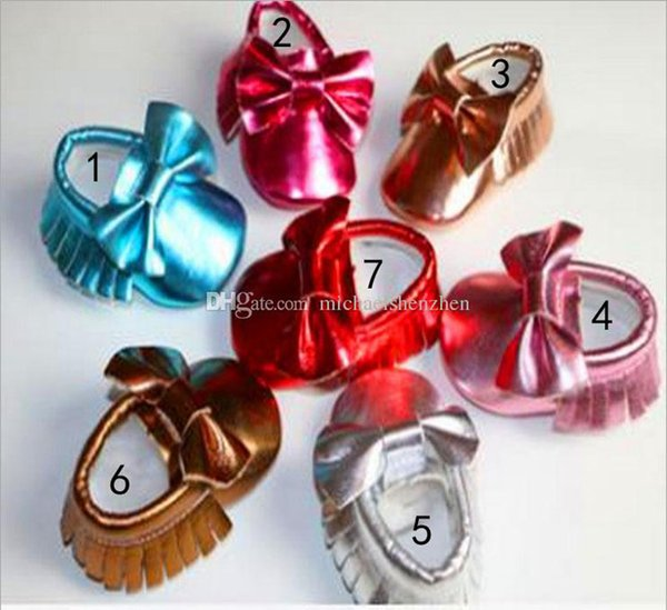 7 Color Baby bow moccasins soft sole PU leather first walker shoes DHL baby newborn Bright gold bowknot texture shoes maccasions shoes B001