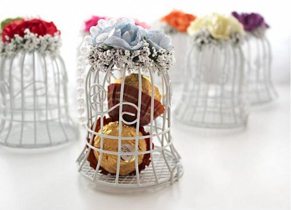 Wedding Favor gift Boxes White Metal Bell Birdcage Shaped with Flower Wedding Favor Supplies High Quality Wedding Candy Boxes gift
