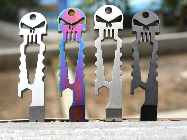 E-01 Tactical Punisher Skull EDC Tool EDC fast open/gear stainless steel pocket multi-functional tool Keychain stick screwdriver crowbar ca