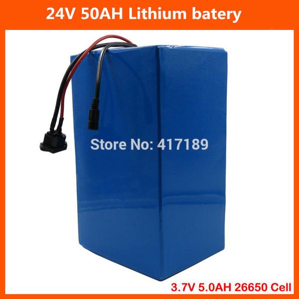 24V ebike battery 1000W 24V Lithium battery 24V 50AH Electric Bike battery 3.7V 5.0AH 26650 Cell with 50A BMS 29.4V 5A Charger