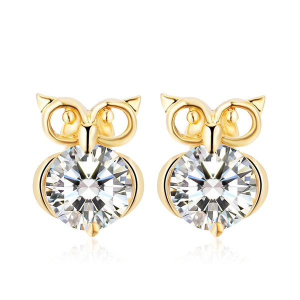 Euroepan Cute Animal Owl Earrings Silver Gold Plated Crystal Zircon Stud Earrings for Women Fashion Jewelry boucle d'oreille High Quality