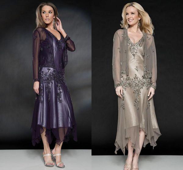 2019 Scala Tea Length Mother of The Bride Dresses with Appliques and Beaded V Neck A Line Evening Dresses with Free Bolero