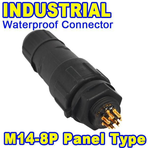 5pcs 8 Pole 8 Pin IP68 Waterproof Connector 8Pin Industrial Panel Electrical Wire Connector Plug Adapter