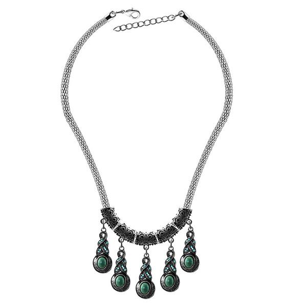 Mode ethnique style déclaration colliers boucles d'oreilles ensemble Turquoise femmes collier boucles d'oreilles bijoux 2 pcs ensembles pour homard fermoir bijoux