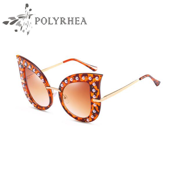 Oversized Cat Eye Sunglasses Brand Designer Sunglasses For Women Cat Eye Sunglasses Hot Diamond Frame Embellished Frame Glasses Female