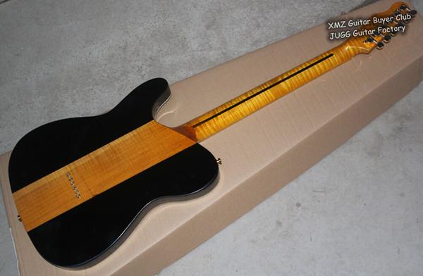 Rare Flame Maple Neck Merle Haggard Tuff Chien Tele TL 3 Couleur Sunburst Top Érable Matelassé Guitare Électrique Or Matériel, Pickguard Blanc