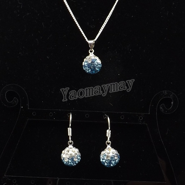 Free Ship Rhinestone Jewelry Set Gradient Peacock Disco Ball Pendant Earrings And Necklace For Women 10 Sets Wholesale