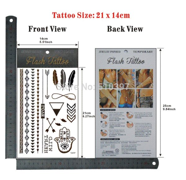 pc/lot/TJ007,Temporary Flash Tattoo/Bracelet,Buddha palm,Arrow/waterproof Gold Metallic fake tatoo sticker/Christmas gift/CE gifts for po...