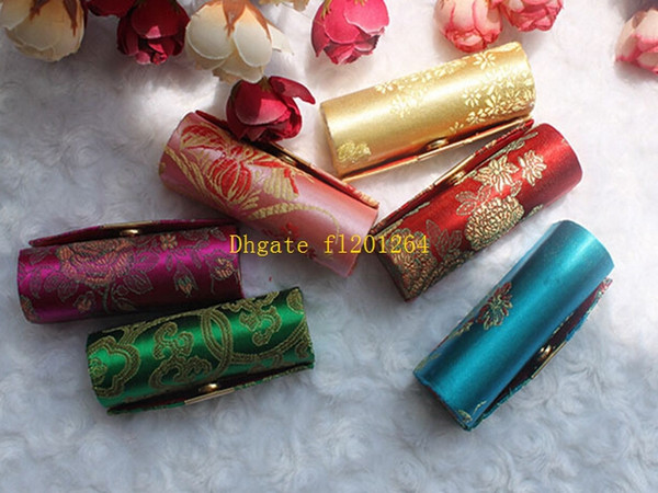 best selling 100pcs lot Retro New Lipstick Brocade Embroidered Flower Design Holder Box with Mirror Cosmetic Bags Multicolors Cases
