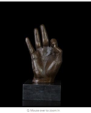 Arts Crafts Copper ATLIE BRONZES Modern abstract bronze hand statue OK SIGN Gestures sculpture Lost Wax Art collection Brass casting sculptu