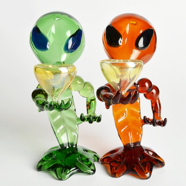 Wholesale 2015 unique alien water pipes water pipes g-spot pipe green g-spot glass pipe shaped Bong water glass gong free shipping