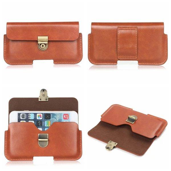 Hip Horizontal Holster General Leather Clip Case For Iphone X 10 8 7/Plus/6 6S SE Galaxy S9 S8/S7LG K7 K10 K8 Sony XZ XA X Z5 Belt Pouch