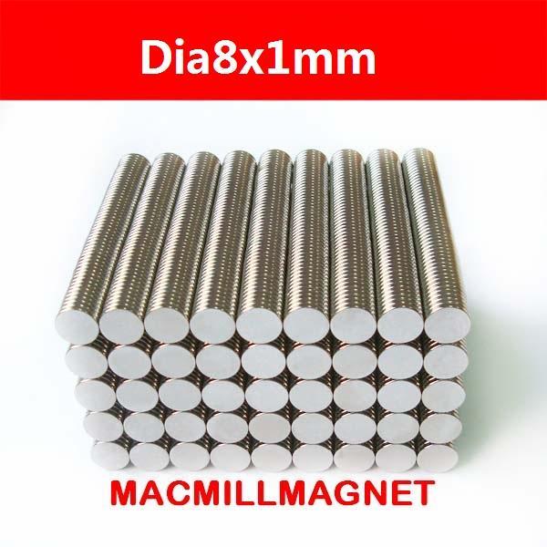 100Pcs/lot N35 Super Strong NdFeB Magnets Bulk Super Round Disc Rare Earth Neodymium Magnet 8mm x 1mm, Free Shipping