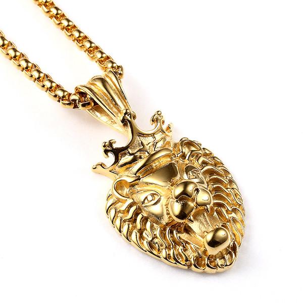 6451ef9a5 Fashion Men 18k Gold Hip Hop Jewelry Vacuum Lion Head Pendant Necklace Punk  Hip Hop Rock