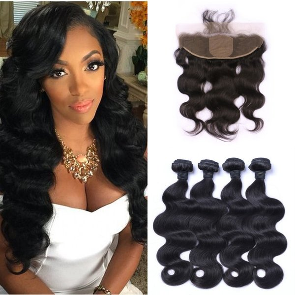 4pcs Mongolian Body Wave Human Hair Weave Bundles With Silk Base Frontal Lace Closure 13x4 Bleached Knots 100% Human Hair LaurieJ Hair