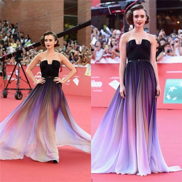 Lily Collins Ombre Elie Saab Celebrity Dresses 2016 Chiffon Evening ...