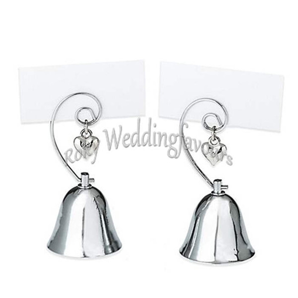 200PCS Wholesale Wedding Favors Party Table Supplies Silver Chrome Charming Bell Place Card Holder w/ Dangling Heart Charm