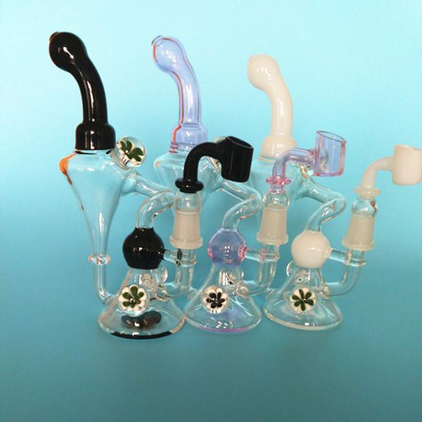 Стекло ресайклер бонг цветок декор маслом DAB Рог рука выдувное основания конуса стакан воды трубы 14мм стеклянные чаши кальян трубы