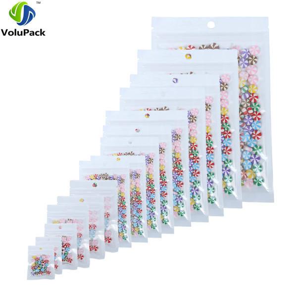 100pcs Translucent Clear/White Multi Sizes Packaging Plastic Package Bags Self Seal Storage bag Zip Lock Bags with Hang Hole