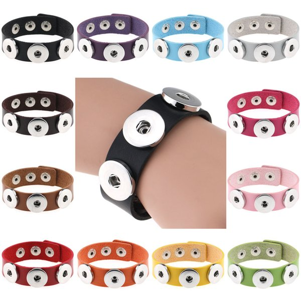 10 adet / grup OEM Noosa yığın PU deri bilezik 18mm Noosa snap düğmesi bilezik kadınlar DIY takı