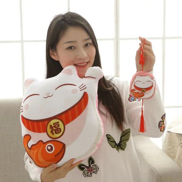 1 piece Kawaii Maneki Neko Pillow Soft Stuffed plush Cushion baby gift Plush Toys Chinese knot Cat Small Pendant