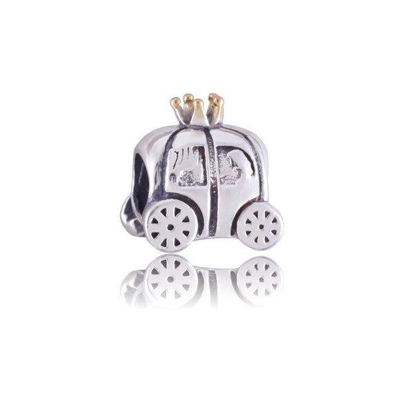 Royal Carriage Charm 925 Sterling Silver European Charm Bead Fit Pandora Snake Chain Bracelet Women Jewelry 14k gold plated charm beads