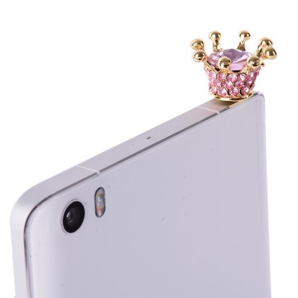 Wholesale-3.5mm Crystal Crown Dust Plugs Rhinestones Cellphone Earphone Dust Plug Audio Headphone Anti Jack Dust Plug Phone