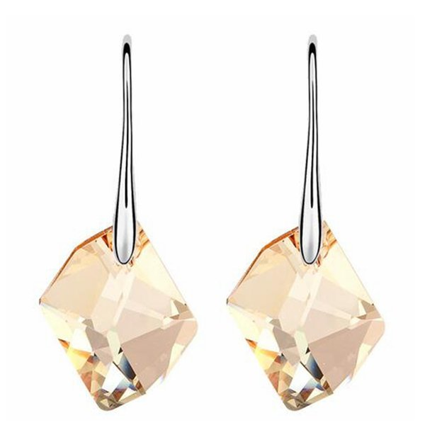 Austria Crystal Water Long Drop Dangle Earrings For Women Made With Swarovski Elements Earrings White Gold Plated 6929