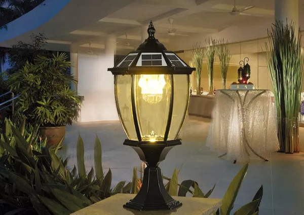 solar power post lantern outdoor post lights super bright led garden lights walll lamp warm white cold white color light sensor functions