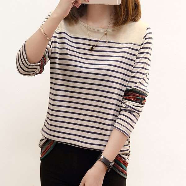 Fall Clothes 2017 New Autumn Casual Tees Women Long Sleeve Stripe T-shirt School Girl Autumn Cotton Tshirt and Tops