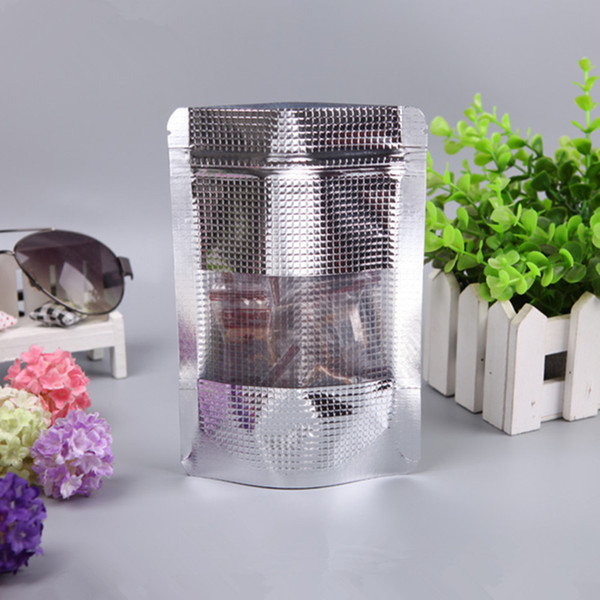 12x17cm Stand Up Pouch Grain Style Silver Aluminum Foil Bag Doypack With Clear Window Retail Food Coffee Storage Packaging Bag