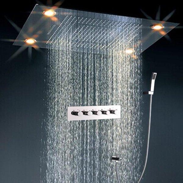 regendusche set polierte einbettung decke wasserfall niederschlag duschkopf set mit led licht dusche gesetzt 160305 - Dusche Led Licht