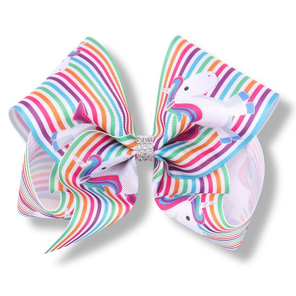 8 Inch Unicorn Large Jojo Bows Grosgrain Dancing Hair Bows with Alligator Clips Jojo Siwa Style hairpins Rainbow Unicorn Hair Accessories