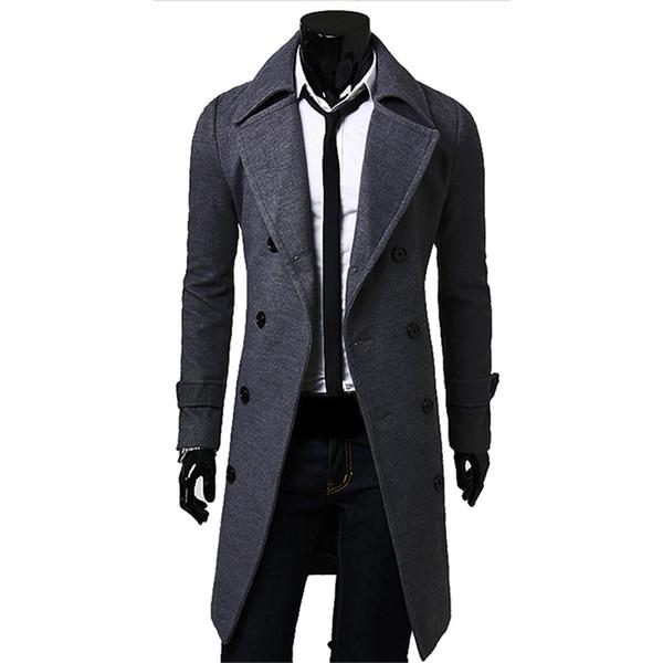 top popular Fall-Men Long Peacoat Winter Down Jacket Mens Coat Male Camel black gray Wool Overcoat Manteau MC056 2021