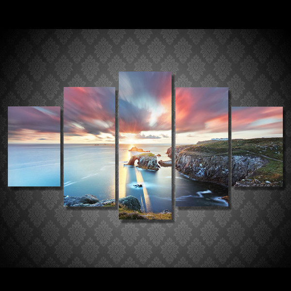 5 Pcs/Set HD Printed Sunset Lake Landscape Painting Canvas Print room decor print poster picture canvas great oil paintings