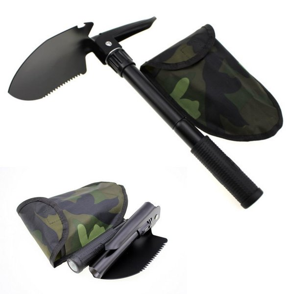 Multi-function Folding Camping Shovel Survival Trowel Dibble Pick camping tool Outdoor emergency accessories