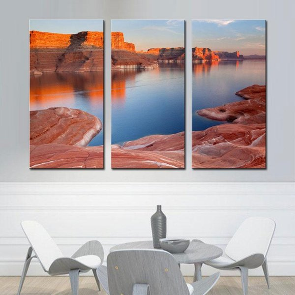 3 Picture CombinationRed Wall Art Lake Powell Blue Water Valley Prints On Canvas The Picture Landscape Pictures For Home Decor