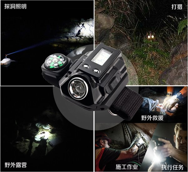 free Outdoor light wrist watches personalized watches waterproof lamp flashlight rechargeable night fishing lights running lights cycling